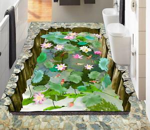 3D Lotus Estanque 84 Piso Moderno Parojo Murales Papel Parojo impresión AJ Wallpaper Reino Unido Limón