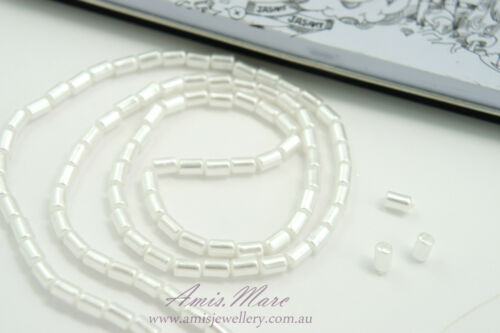 110pcs Beads 4mm White Color Rectangle Tube Imitation Acrylic Loose Pearl Spacer