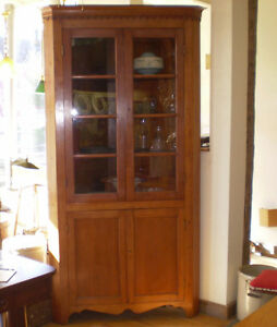 Image Is Loading Antique Cherry Corner Cabinet With Gl Doors And