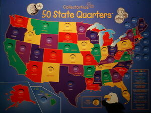 1999 Thru 2008 Statehood Quarter Collection Wall Mount Map And No - Us-map-for-quarters