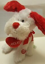 "Red & Pink Plush White Dog w/ Red Flapping Ear Singing ""Kiss You""  10"" New 2017"