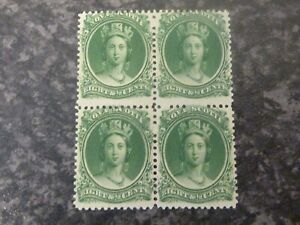 NOVA SCOTIA POSTAGE STAMPS SG26 BLOCK OF 4 WHITE PAPER GUM TONING UN-MOUNTED M