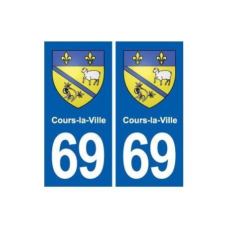 69 Cours-la-Ville blason autocollant plaque stickers ville arrondis