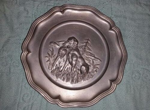 VINTAGE HAND MADE PEWTER WALL DECOR HUNTING PLATE DOG BIRD