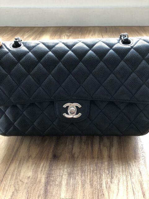 a8b99f2947c3 CHANEL Caviar Calf Skin Silver Hardware Classic Medium Flap Bag Made in  France for sale online   eBay
