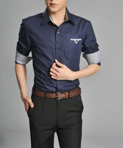T138 New Mens Luxury Casual Slim Fit Stylish Long sleeve DarkBlue Dress Shirts