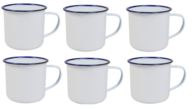 White Enamel Mugs Cups Retro Camping Outdoor Coffee Tea Mug Cup 350ml x 6