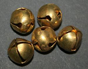 5-uralte-runde-Messing-Gloeckchen-1-5cm-um-1900-fuer-Schaf-Ziege-Puppe-Teddybaby