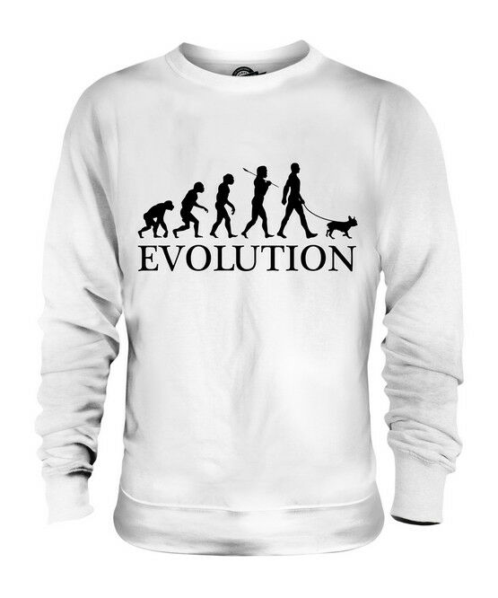 FRENCH BULLDOG EVOLUTION OF MAN UNISEX SWEATER  Herren Damenschuhe LADIES DOG LOVER GIFT