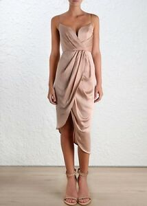 0f2c31982b06 Image is loading Zimmermann-Sueded-Silk-Plunge-Cocktail-Dress-Nude-Musk-