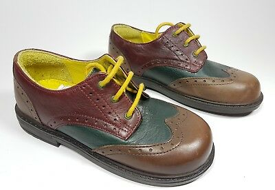 Zapatos de Cuero M & S Niños varios tonos de extremo de ala Brogue UK 10 EU 28 usado una vez