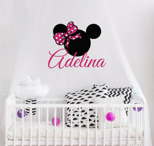 Image is loading Minnie-Mouse-Wall-Decal-Bow-Full-Color-Sticker-  sc 1 st  eBay & Minnie Mouse Wall Decal Bow Full Color Sticker Personalized Baby ...