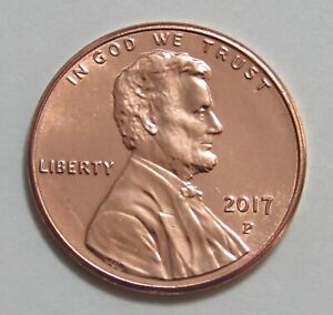 2017P Lincoln Shield Cent BU Uncirculated Penny U S Coin From Bank Roll