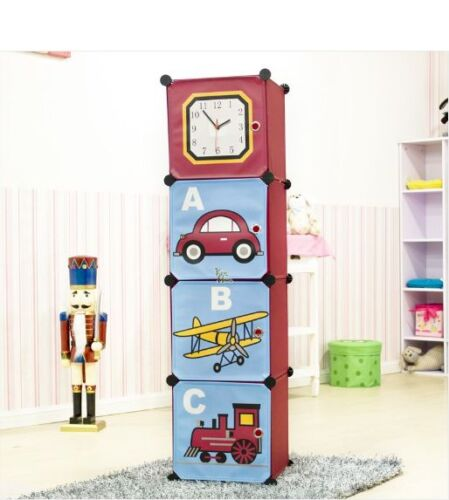 Car Cubic Clock Tower Folding DIY Storage Cabinet Toy Rack for Kids