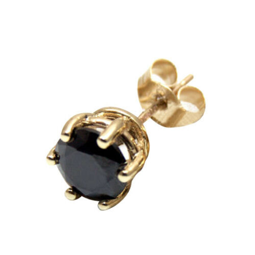 Earring Black Diamond Unique 1ct Single Solitaire Stud Solid Gold 18ct 6 Claw