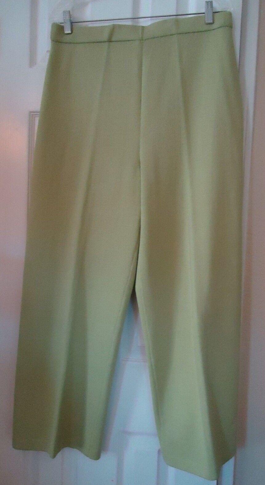 Light Green Elastic Waist St John Collection Wool Blend Knit Pants - Size 16