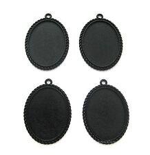 4 Goth Metallic BLACK Nautical 40mm x 30mm CAMEO Costume PENDANTS Frame Settings
