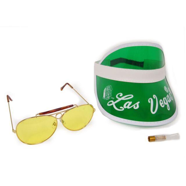 f664743b76 Fear and Loathing in Las Vegas Raoul Duke Green Visor Sunglasses Cigar  Costume for sale online