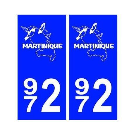 972 Martinique blason autocollant plaque arrondis