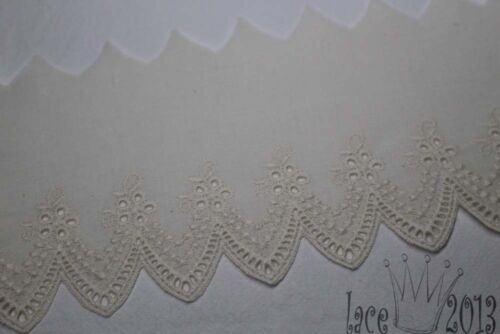 """9cm 5Yds Broderie Anglaise cotton eyelet lace trim 3.5/"""" Ivory YH440 laceking"""