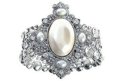 Vintage Deco Bridal Wide Silver Pearl Feature Cuff Bracelet w Swarovski Crystals