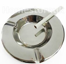 """5"""" SMALL ROUND ASHTRAY CIGARETTE CAFE TABLE ASH TRAY STAINLESS STEEL CHROME Z35"""