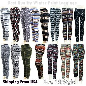 ae43a256042be Fur Lined Leggings Winter Tribal Print Thick Fleece Stretch Pants ...