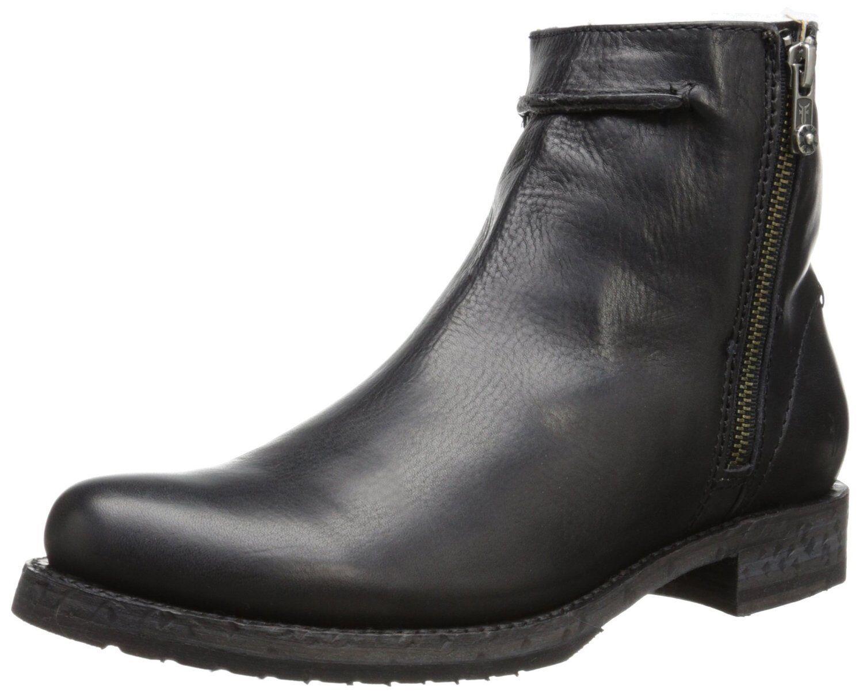 Women's Frye Boots Double ZipOn Veronica Seam Seam Seam Short Black Leather 76494 BLK 75a78f