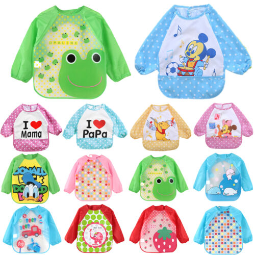 Baby Little Kid Cartoon Feeding Bib With Long Sleeve Plastic Feeding Smock Apron