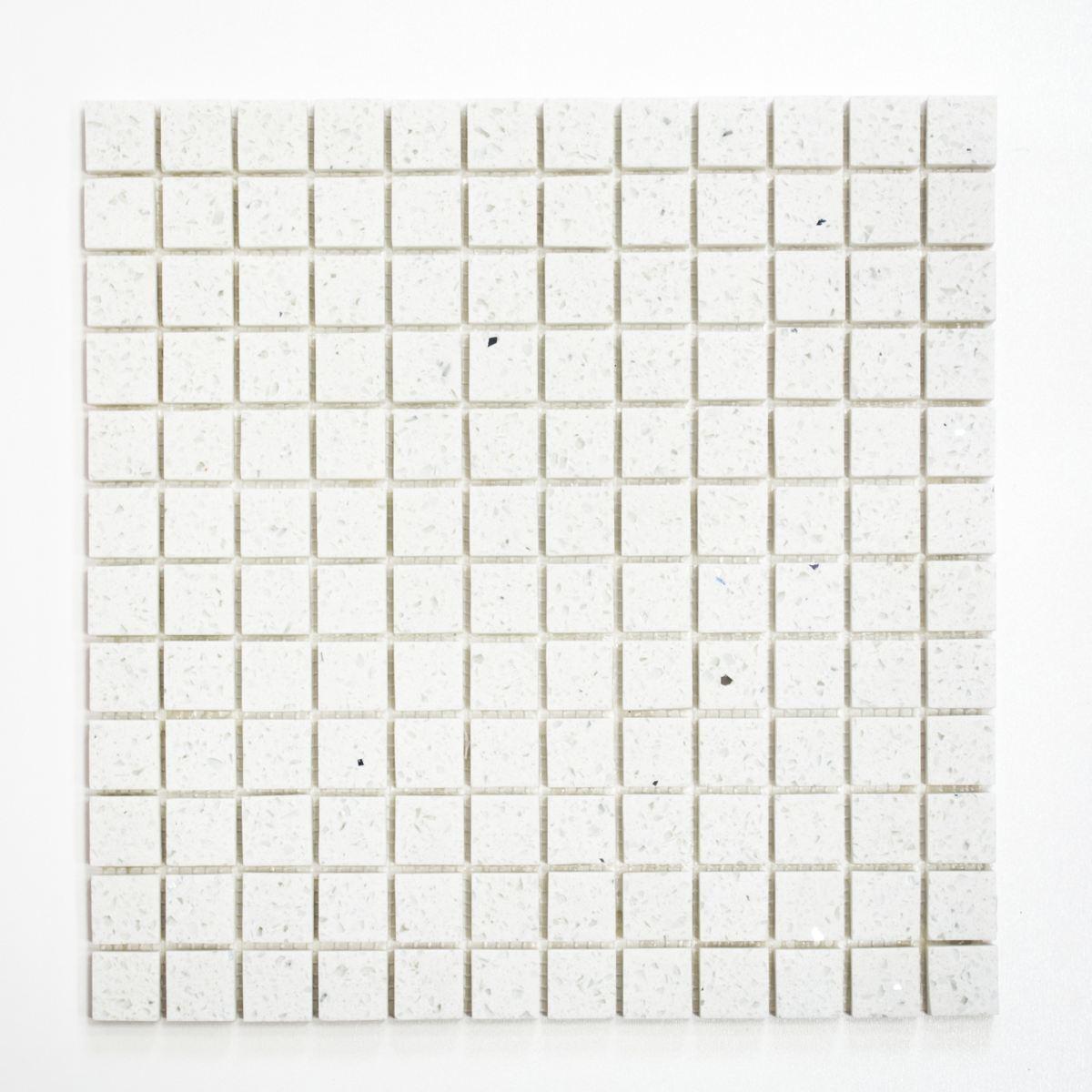 Mosaik Fliese Quarz Komposit Kunststein Artificial weiß   46-ASM21_f   10 Matten
