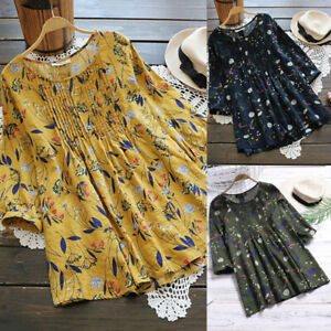 Women-Boho-Floral-Tops-Blouse-Ladies-Cotton-Linen-Short-Sleeve-Shirt-Plus-Size