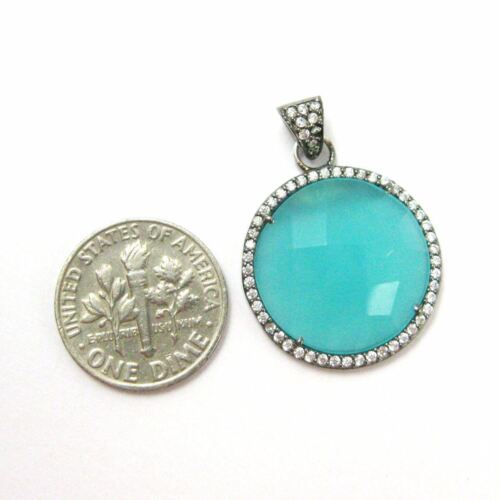 Oxidized Silver Round Bezel Peru Chalcedony Gem Pave Cubic Zirconia Pendant