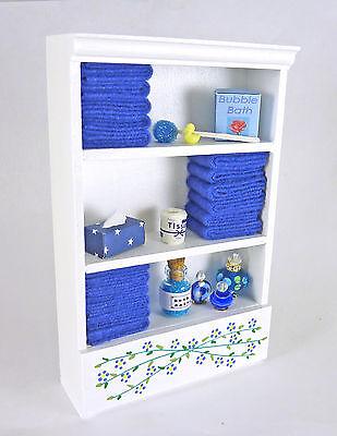 Dollhouse Miniature Tall White Bathroom Filled Cabinet w/ Blue, SH0007