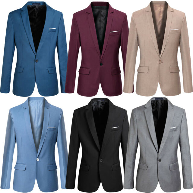 Mens Fashion Smart Slim Fit Formal Casual One Button Suit Blazer Coat Jacket Top