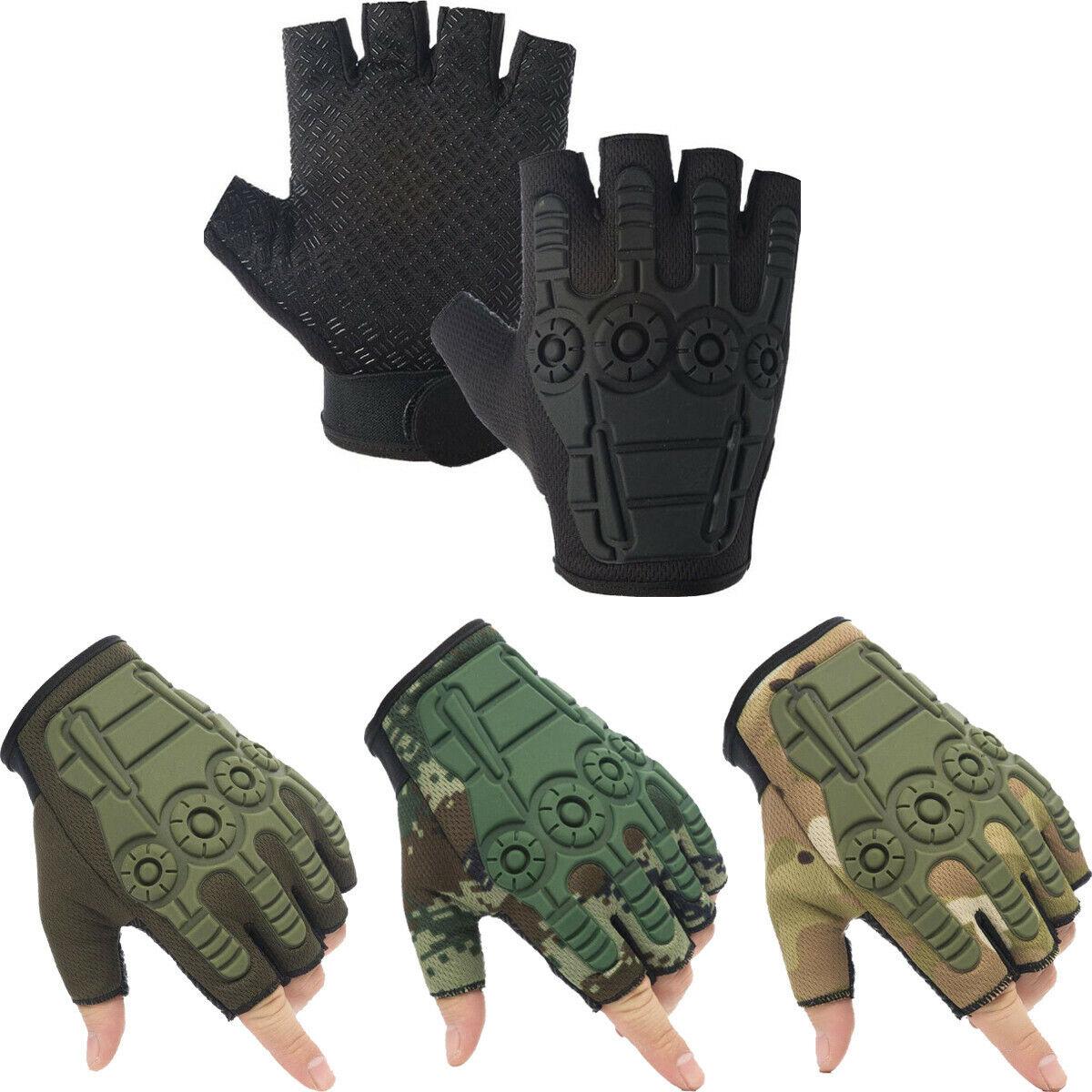 Tactical Hard Knuckle Half Finger Gloves Men Army Military Assault Combat