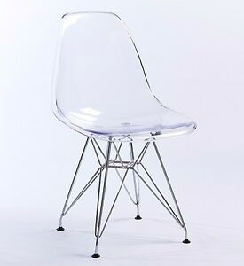 Image Is Loading Designer Style Ghost Chrome Eiffel Chair Clear Transparent