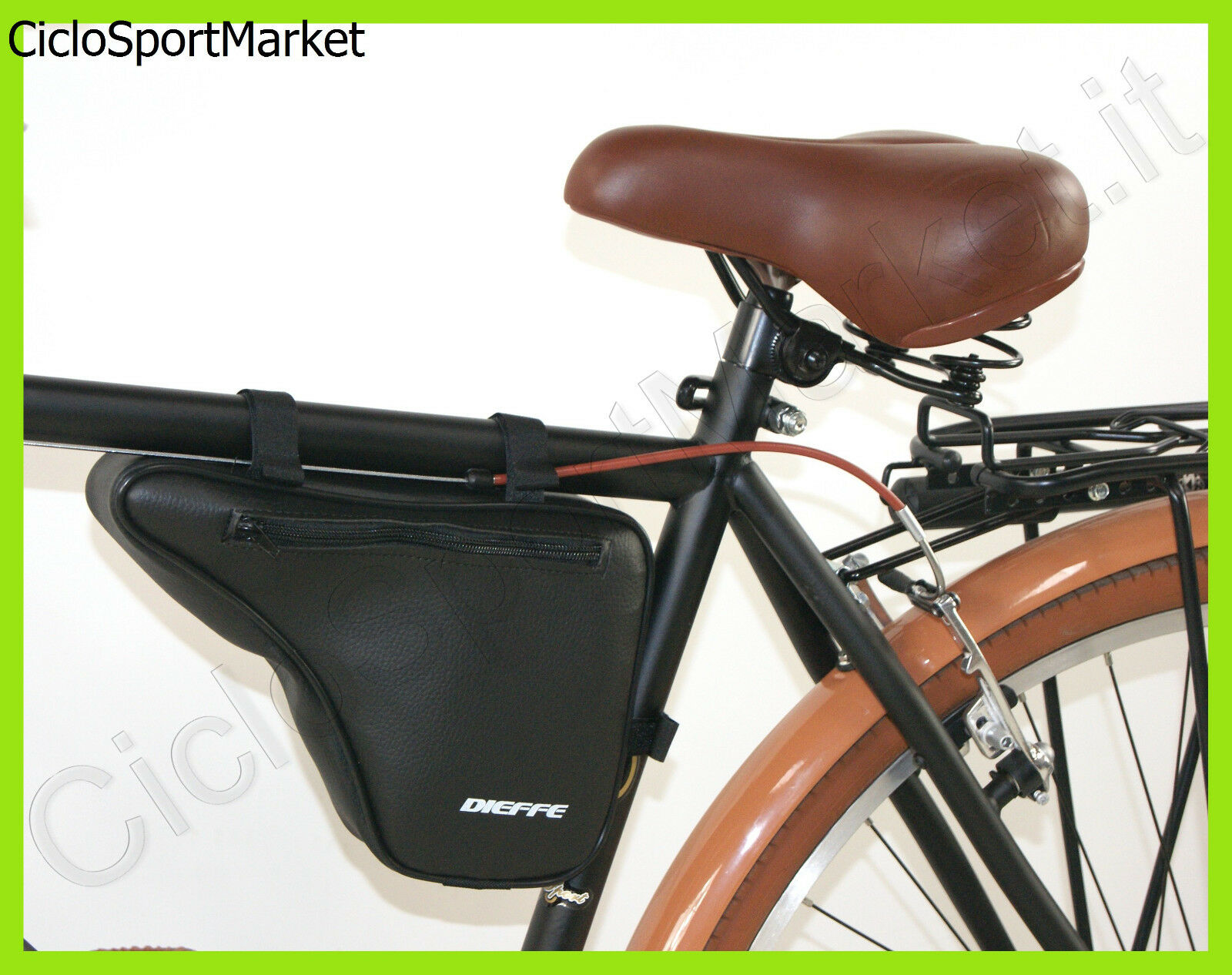 Bag Shoulder strap bag for bike frame MAN Vintage eco leather - black