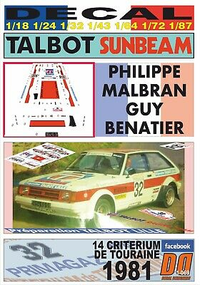 DECAL TALBOT SUNBEAM LOTUS PHILIPPE MALBRAN CRITERIUM DE TOURAINE 1981 05