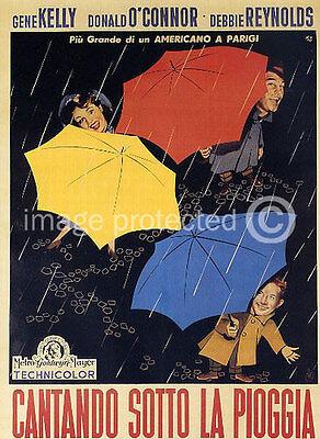 Singing in The Rain Vintage Italian Movie 11x17 Poster
