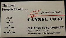 Advertising Blotter CANNEL COAL Citizens Coal co. BURLINGTON VERMONT