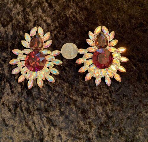 Aurora Borealis & Purple Rhinestone Clip-On Earrin