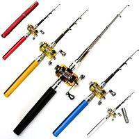 Mini Portable Pocket Camping Travel Pen Shape Fishing Rod Pole Reel Aluminum