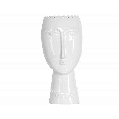 Modern Glazed Ceramic Vase with Aztec Female Face / Lady Head in White * Gift