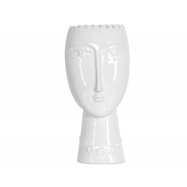 Modern Glazed Ceramic Vase with Aztec Female Face / Lady Head in White * Gift