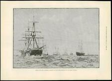 1889 Antique Print BRITISH SHIPS ROYAL YACHT OSBORNE German Emperor Navy (267)