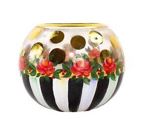 Details About Mackenzie Childs Heirloom Hand Painted Gl Globe Vase Votive Large 6