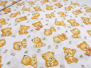 Stoff Baumwolle Teddy Bär weiß braun rot grün Kinderstoff Dekostoff Kleiderstoff