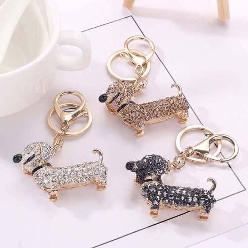 Charm Crystal Dog Dachshund Keychain Pom Gift Women Girl Bag Charm Pendant Key n