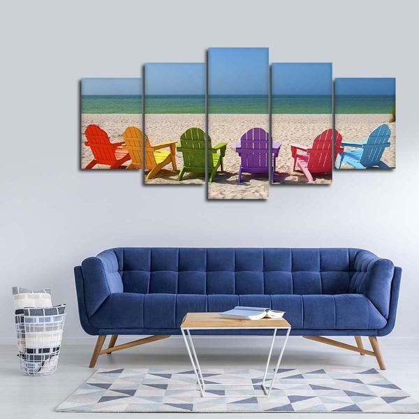 Relax Beach Chairs 5 panel canvas Wand Kunst Home Decor Poster Drucken
