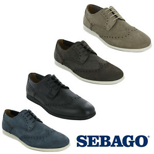 8620e905 Sebago Reid Wing Tip Leather Mens Smart Trainers Low Cut Casual ...